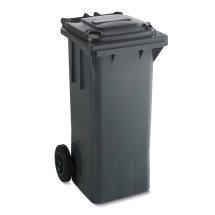 Grüne Mülltonne mit Rollen